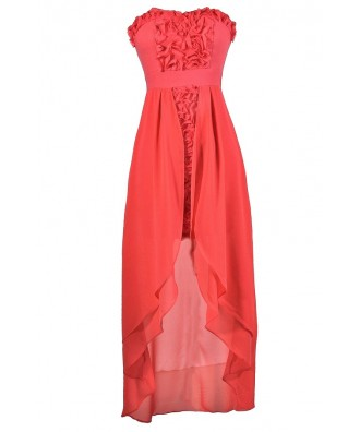 Cute Coral Dress, Coral Rosette Dress, Coral High Low Dress, Coral Chiffon Dress, Coral Bridesmaid Dress, Coral Party Dress