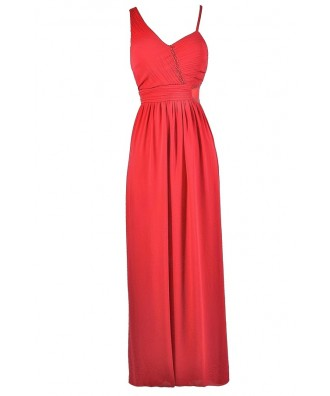 Coral Pink Maxi Dress, Coral Pink Formal Dress, Coral Pink Prom ...