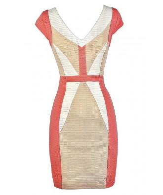 Cute Colorblock Dress, Colorblock Pencil Dress, Coral and Beige Dress, Coral and Beige Colorblock Dress, Colorblock Capsleeve Pencil Dress, Business Casual Dress