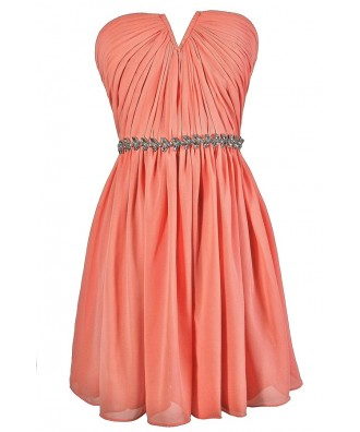 Cute Peach Dress, Peach Strapless Dress, Peach Bridesmaid Dress, Peach Party Dress, Peach Embellished Dress, Peach A-Line Dress