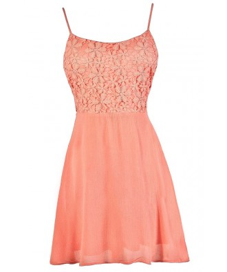 Cute Coral Dress, Coral A-Line Dress, Coral Lace Dress, Coral Summer Dress, Coral Tie Back Dress, Tie Back Summer Dress, Cute Summer Dress