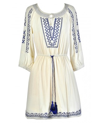 Cute Blue and Ivory Dress, Blue and Cream Dress, Blue and Ivory Summer Dress, Blue and Cream Summer Dress, Blue and Ivory Embroidered Dress, Blue and Cream Embroidered Dress