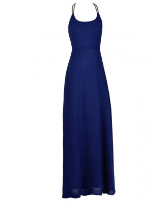 Royal Blue Maxi Dress, Royal Blue Prom Dress, Embellished Maxi Dress, Embellished Royal Blue Prom Dress, Embellished Open Back Maxi Dress, Embellished Prom Dress