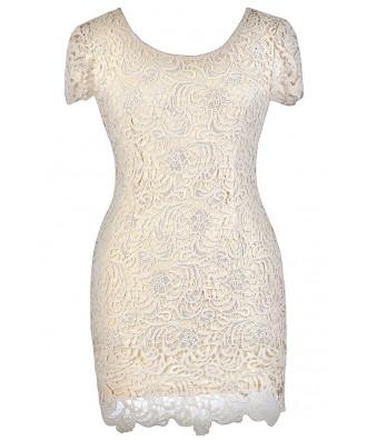 Beige Plus Size Dress, Plus Size Pencil Dress, Plus Size Lace Dress, Beige Lace Pencil Dress, Beige Plus Size Capsleeve Lace Dress