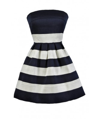 Navy and Ivory Dress, Navy and White Stripe Dress, Nautical Stripe Dress, Cute Summer Dress, Navy and White Nautical Dress
