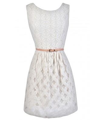 Ivory Lace A-Line Dress, Off White Lace A-Line Dress, Ivory Lace Rehearsal Dinner Dress, Off White Lace Rehearsal Dinner Dress, Cute Graduation Dress, Belted Lace Summer Dress, Belted Lace A-Line Dress