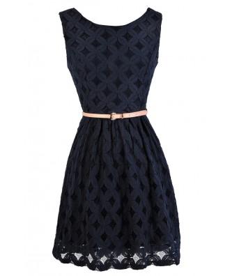 Cute Navy Dress, Navy Lace Dress, Navy Lace A-Line Dress, Navy Lace Summer Dress, Navy Lace Party Dress, Belted Navy Lace Dress