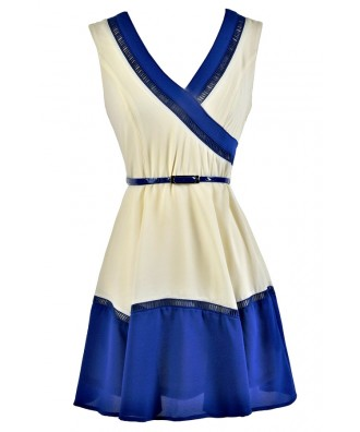 Blue and Ivory Colorblock Dress, Colorblock Belted Dress, Colorblock Summer Dress, Cute Blue and White Dress, Blue and White Colorblock Dress, Blue and Cream Colorblock Sundress, Blue and White Sundress, Cute Summer Dress