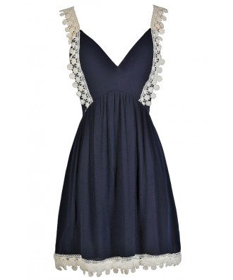 Cute Navy Dress, Navy Summer Dress, Navy and Ivory Dress, Navy and Cream Dress, Navy and Ivory Crochet Dress, Navy and Cream Crochet Dress, Navy A-Line Dress