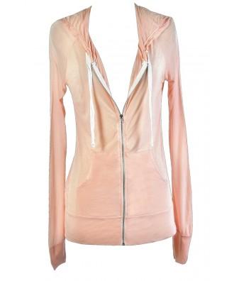Cute Pink Top, Pink Hooded Sweatshirt, Cute Casual Top, Pale Pink Hoodie, Pink Zip Up Hoodie