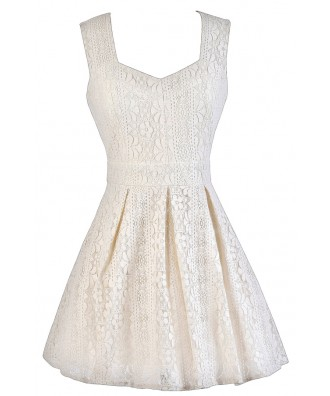Off White Lace Dress, Ivory Lace Dress, Off White Lace Summer Dress, Ivory Lace A-Line Dress, Ivory A-Line Party Dress, Off White Lace Cocktail Dress, Cute Summer Dress
