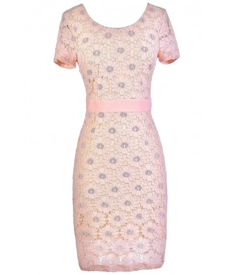 Pink Lace Pencil Dress, Pale Pink Lace Dress, Cute Pink Dress, Pink Lace Summer Dress, Pink Lace Capsleeve Dress