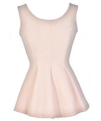 Pink Peplum Top, Cute Peplum Top, Pale Pink Peplum Top, Cute Summer Top, Lace Back Peplum Top