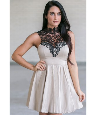 Beige and Black Lace Dress Online, Cute Fall Dress, Cute Summer Dress, High Neck Lace Dress