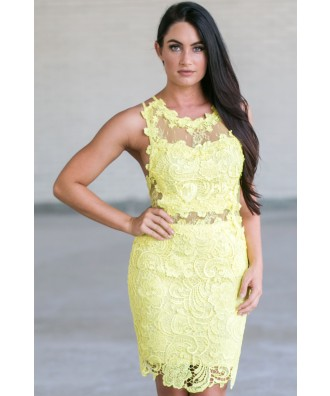 Bright Yellow Lace Cocktail Dress, Yellow Lace Bodycon Dress, Yellow Lace Party Dress Online
