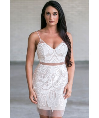 Cute White Cocktail Dress, White Party Dress Online, Bachelorette Party Dress
