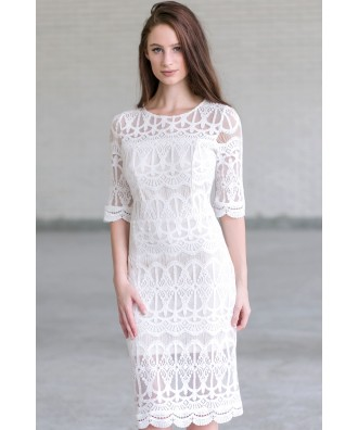 Ivory lace Midi Dress, Ivory Rehearsal Dinner Dress, Off White Bridal Shower Dress