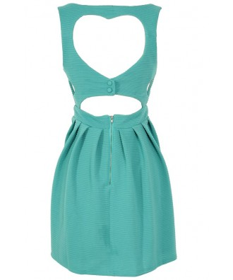 Teal My Heart Open Back Fit And Flare Dress Lily Boutique