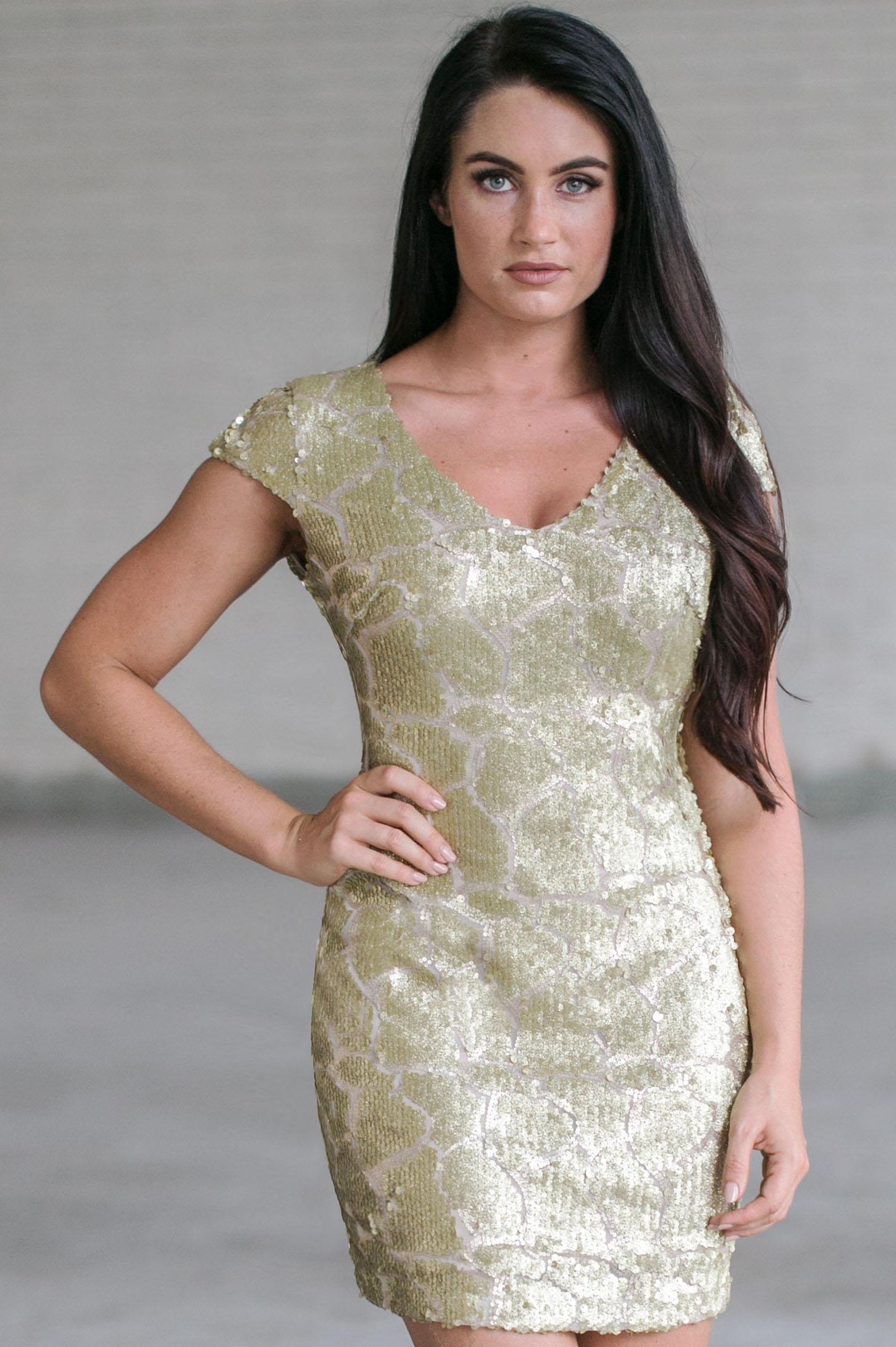 Gold Party Dress, Cute Gold Sequin Cocktail Dress, Boutique Dress ...