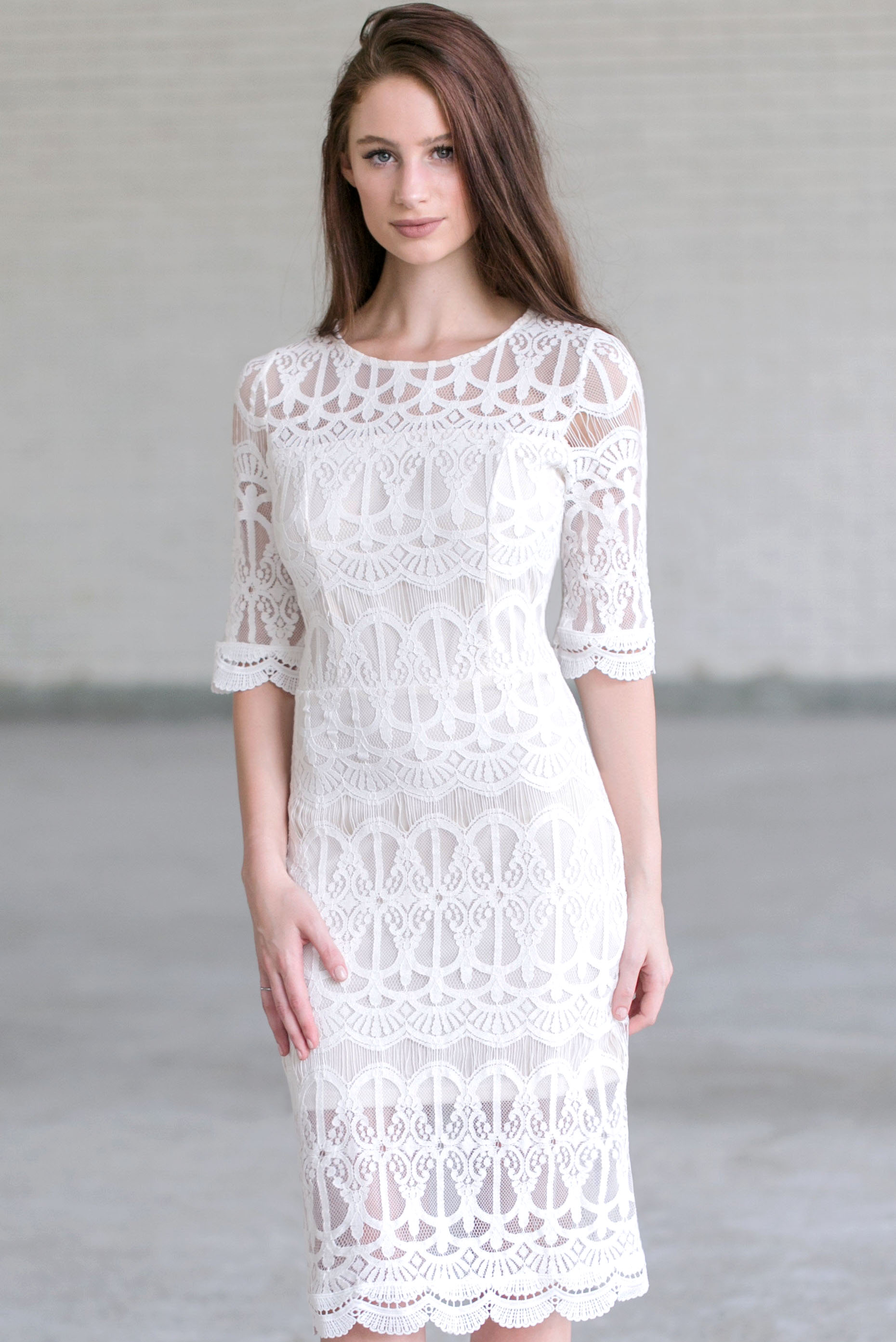 ivory lace midi dress, cute ivory lace dress, lace rehearsal