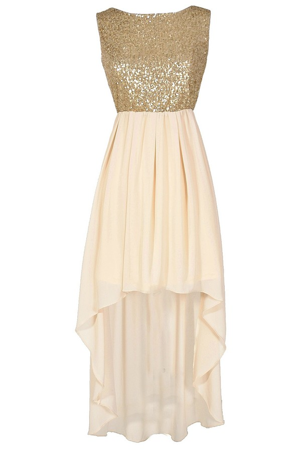 Gilded Angel Gold and Ivory Sequin Chiffon High Low Dress Lily Boutique